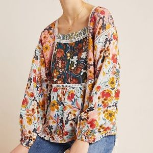 Anthropologie Maeve Nikki Floral Blouse Size M